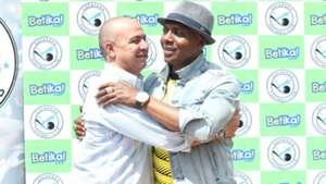 Sofapaka coach Melis Medo and boss Elly Kalekwa.