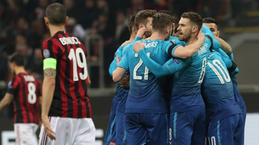 Milan Arsenal celebration
