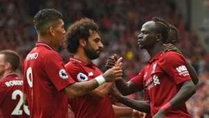 Roberto Firmino Sadio Mane Mohamed Salah Liverpool West Ham Premier League 120818
