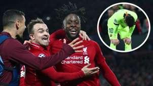 Dejan Lovren Xherdan Shaqiri Divock Origi Lionel Messi Liverpool Barcelona