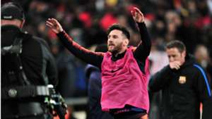 Lionel Messi of Barcelona warming up against Sundowns - May 16 2018