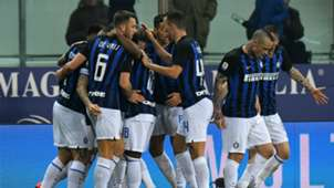 Inter celebrating Parma Serie A