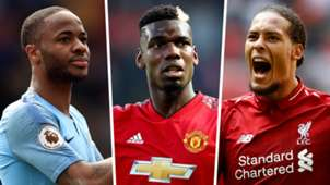 Raheem Sterling Paul Pogba Virgil van Dijk PFA Team of the Year