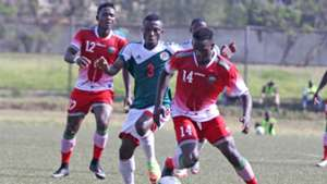 Vincent Oburu of Harambee Stars and George Odhiambo v Burundi.j