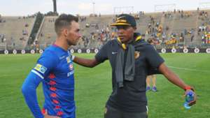 Lebogang Manyama of Kaizer Chiefs and Bradley Grobler of SuperSport United, August 2018