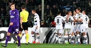 Moenchengladbach players celebrating Fiorentina Borussia Monchengladbach Europa League