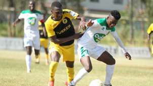 John Kamau of Tusker and David Owino of Mathare United.
