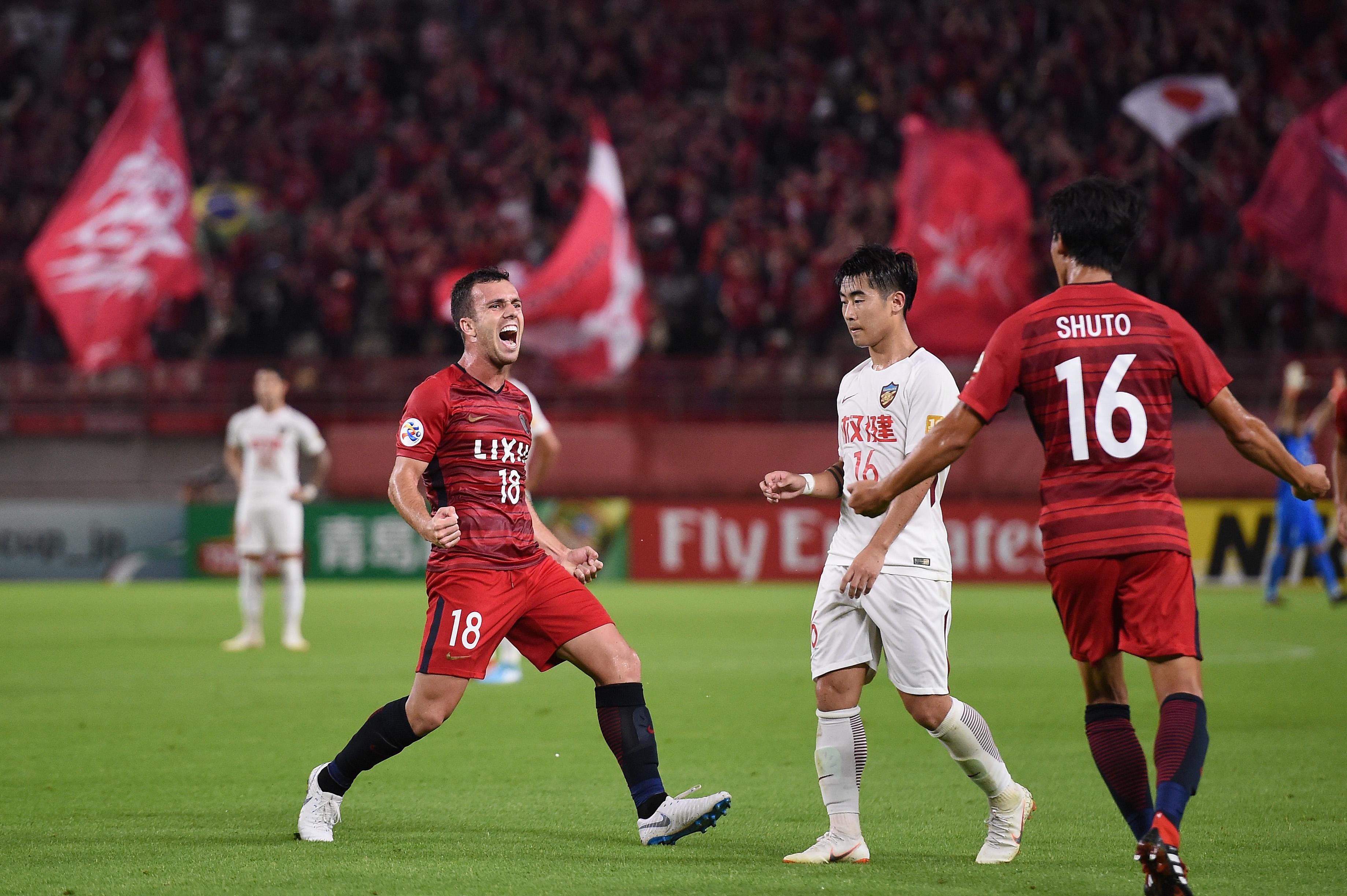 Serginho del Kashima Antlers festeja uno de sus goles