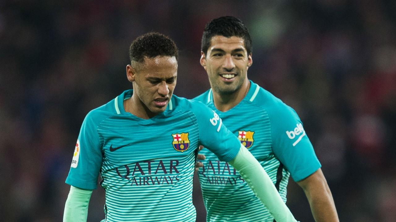 Neymar and Suarez's childish prank on Pique