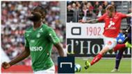 Jean-Eudes Aholou (ASSE) et Gaetan Charbonnier (Stade Brestois), 2ème journée de Ligue 1, le 18 août 2019