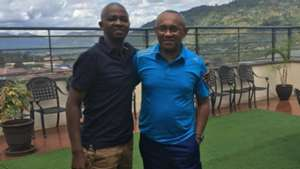 Caf President Ahmad Ahmad with FKF President Nick Mwendwa.
