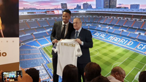 Eder Militao, during his unveiling as new Real Madrid player with Florentino Perez