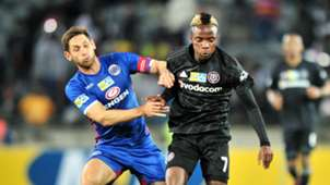 Dean Furman, SuperSport United & Kudakwashe Mahachi, Orlando Pirates, August 2018