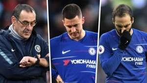 Maurizio Sarri, Eden Hazard, Gonzalo Higuain, Chelsea