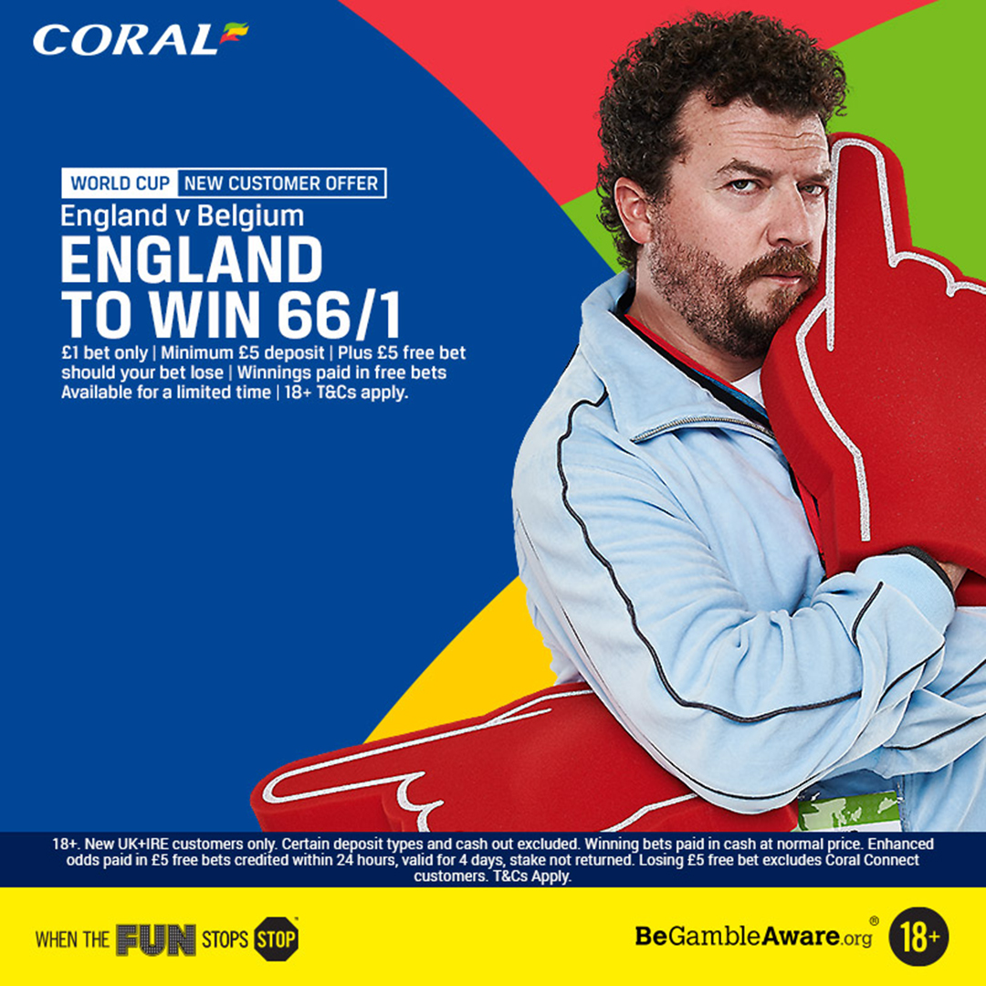 England 66/1 to beat Belgium new Coral customers offer