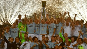Lazio celebrating Italian Supercup