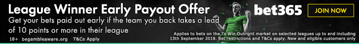 bet365 League Winner Early Payout Promotion banner