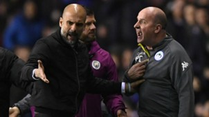 PEP GUARDIOLA MANCHESTER CITY PAUL COOK WIGAN 19022018