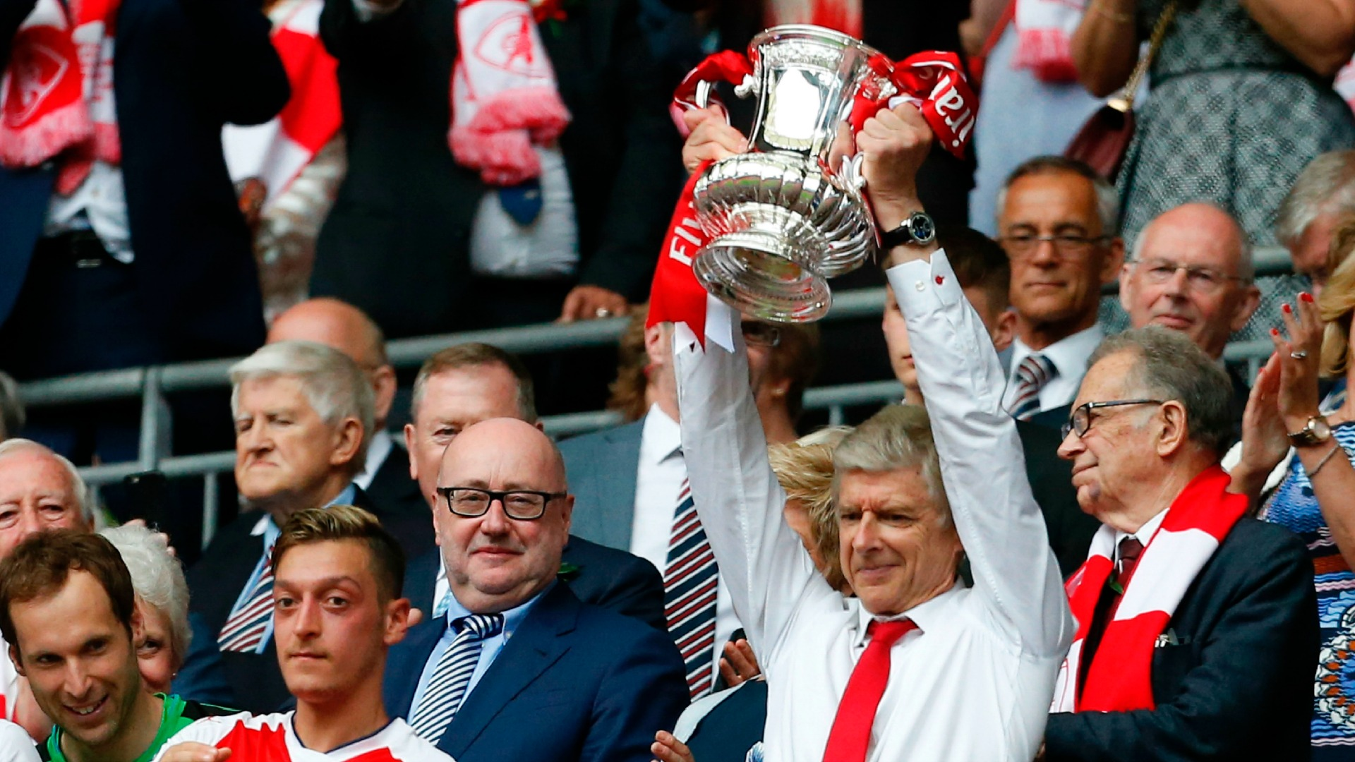Arsene Wenger Arsenal FA Cup Trophy Parade 31052015