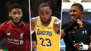 Joe Gomez, LeBron James, Anthony Joshua