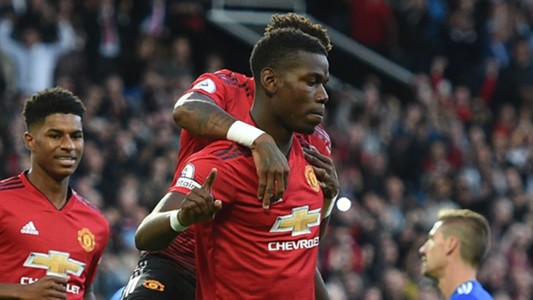 Paul Pogba celebrates penalty vs Leicester