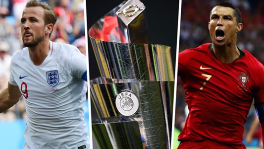 Harry Kane Cristiano Ronaldo Nations League trophy