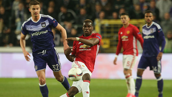 Pogba RSC Anderlecht v Manchester United - UEFA Europa League Quarter Final: First Leg 13042017