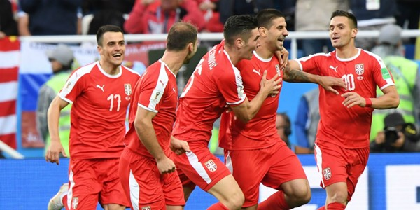 Serbia celebrating Serbia Switzerland Worl Cup Russia 2018 06222018