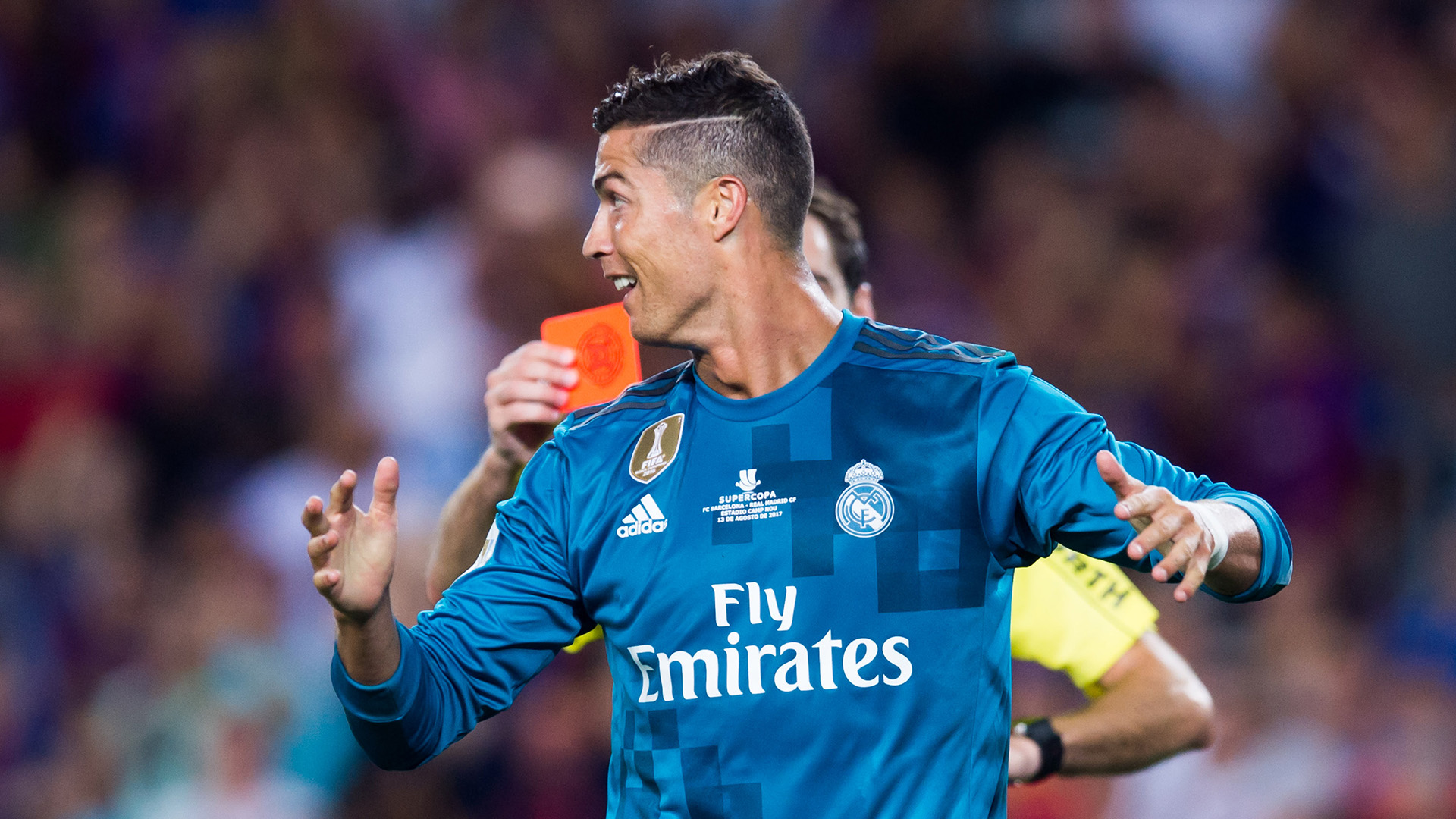 big sale 86c76 70257 Cristiano Ronaldo sensationally shoves referee after being ...