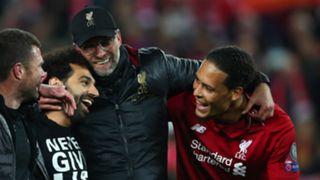 Mohamed Salah Jurgen Klopp Virgil van Dijk Liverpool 2018-19