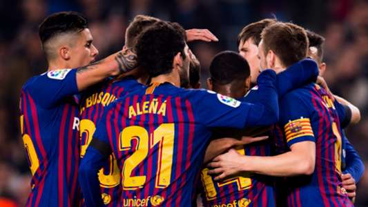 Barcelona celebrate vs Cultural Leonesa