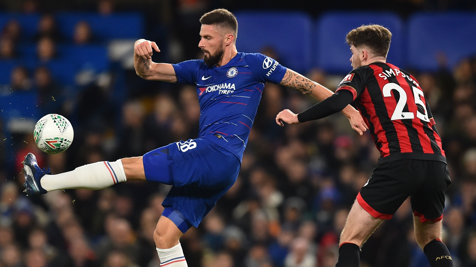 Giroud, Simpson, Chelsea vs Bournemouth