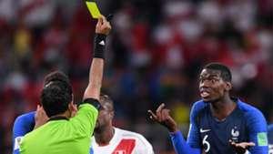 Paul Pogba Yellow Card World Cup France Peru