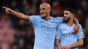Vincent Kompany Riyad Mahrez Manchester City