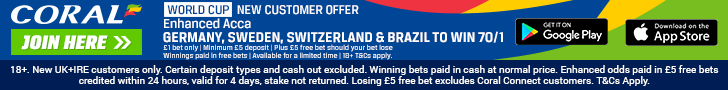 Coral new customer 70/1 enhanced offer footer