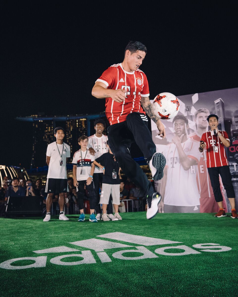James Rodriguez in action during the Football Freestyle Battle at adidas HERE TO CREATE