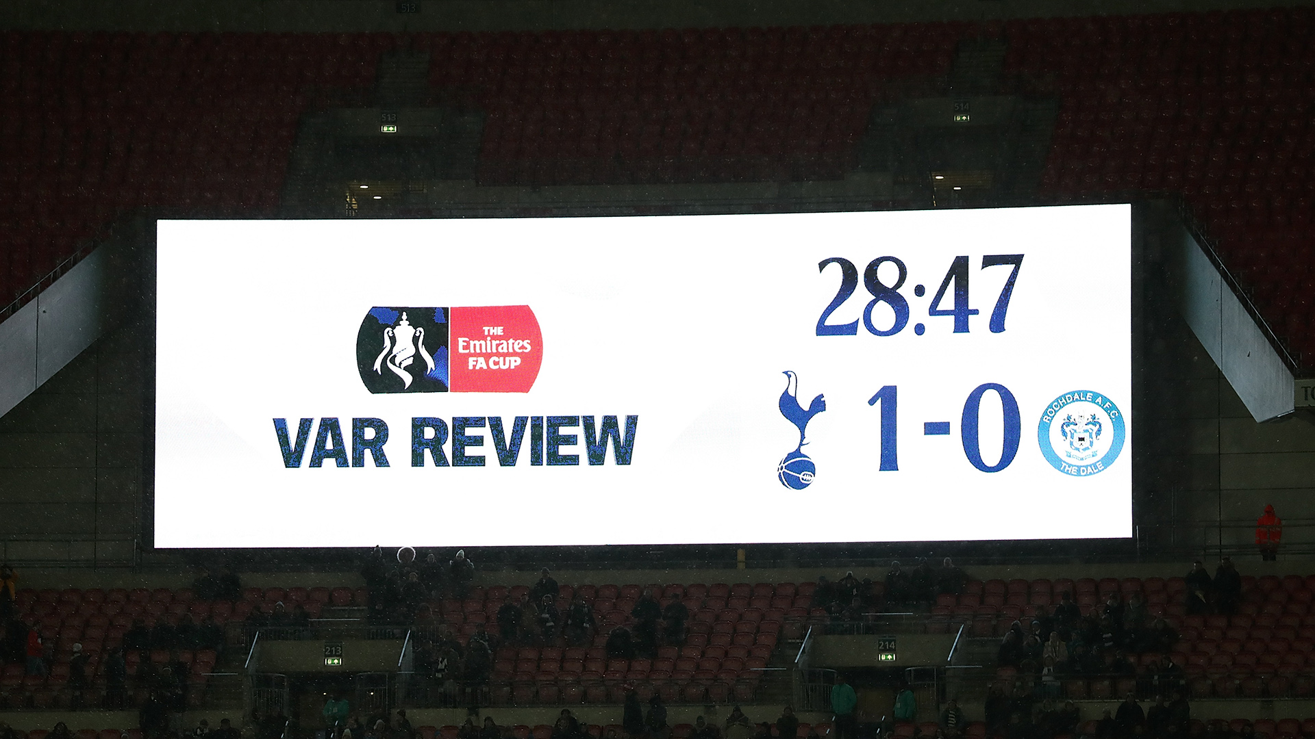 VAR Review Tottenham Rochdale FA Cup