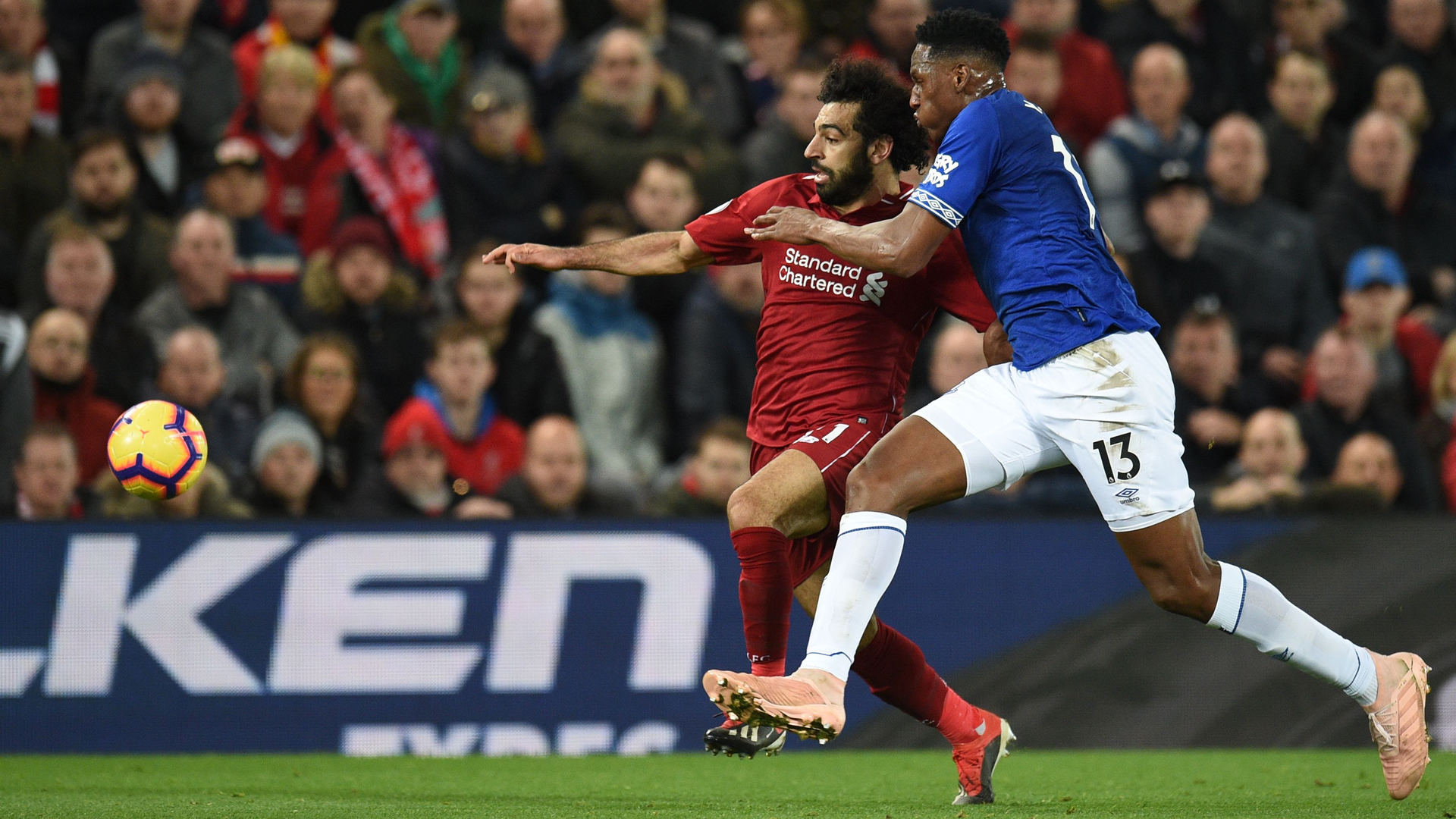 Yerry Mina Mohamed Salah Liverpool Everton Premier League 2122018