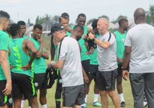 Gernot Rohr's men face Florent Ibenge's team in Monday's international friendly and the Super Eagles are physically ready. Goal brings you photos from their training