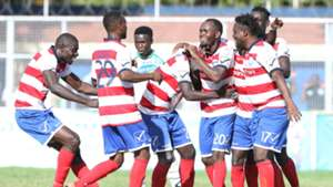 AFC players celebrates Whyvonne Isuza goal against Thika United