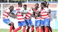 AFC players celebrates Whyvonne Isuza goal against Thika United