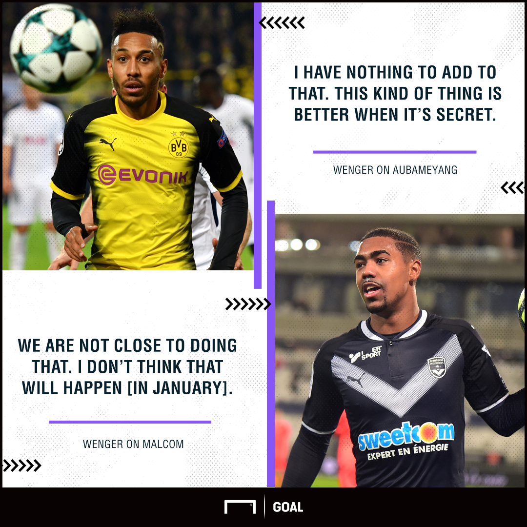 Arsene Wenger Aubameyang Malcom to Arsenal