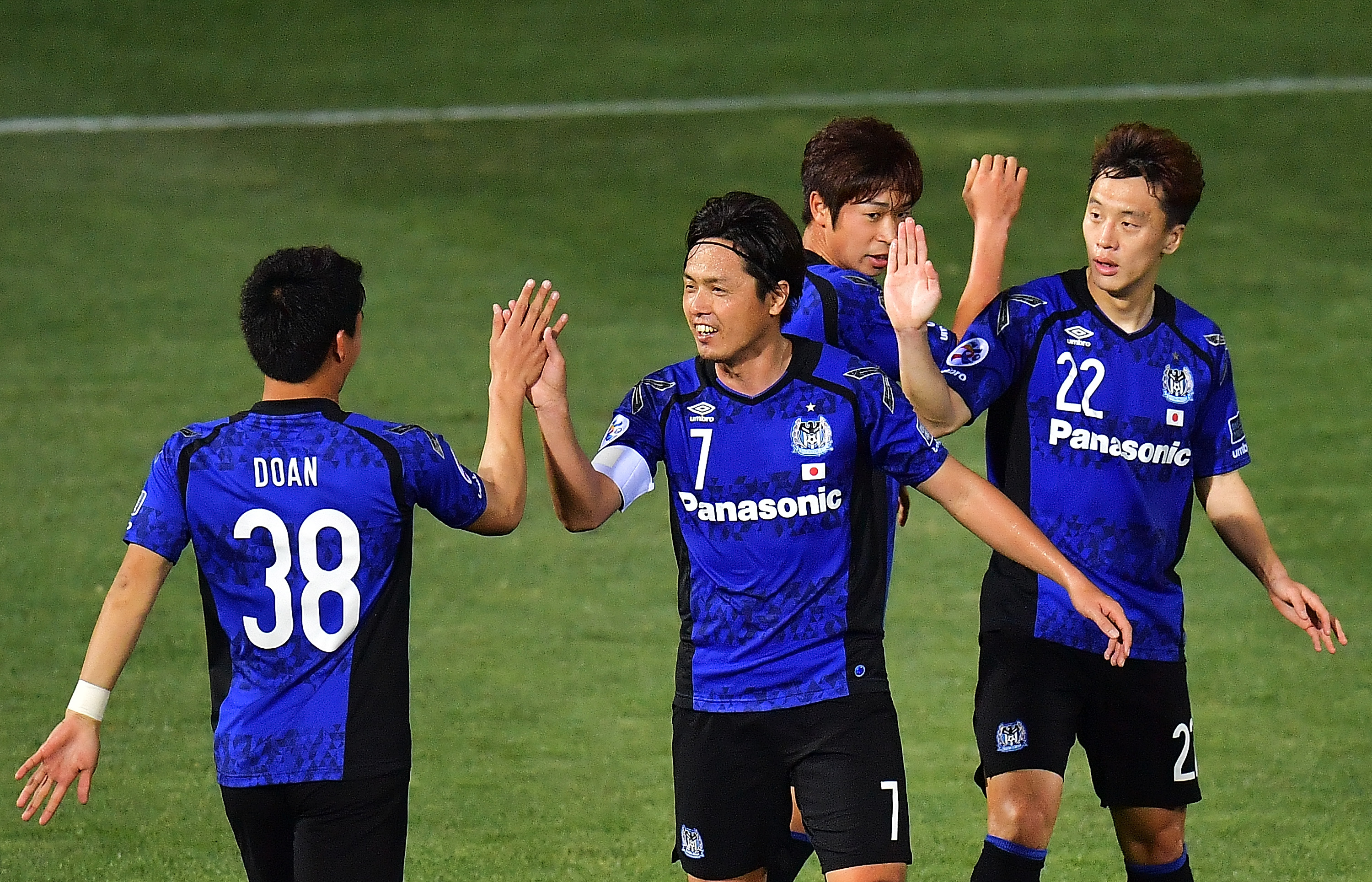 Gamba Osaka players celebrate after scoring a goal during the AFC Asian Champions League match between Adelaide United and Gamba Osaka at Coopers Stadium on February 22, 2017 in Adelaide, Australia