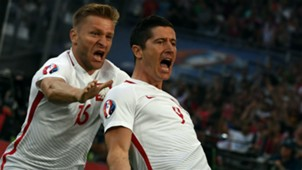 Lewandowski celebrates Poland Portugal Euro 2016