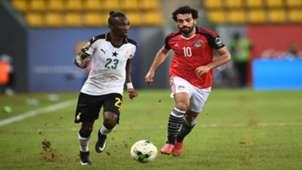 Harrison Afful, Ghana, and Mohamed Salah , Egypt, during a Afcon 2017 match