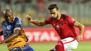 Al Ahly player Mohamed Gaber (R) in action against Township Rollers player Obuile Ncenga (L) , July 2018