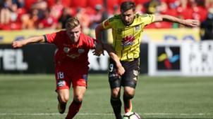Riley McGree Kosta Barbarouses Adelaide United v Wellington Phoenix A-League 29012017
