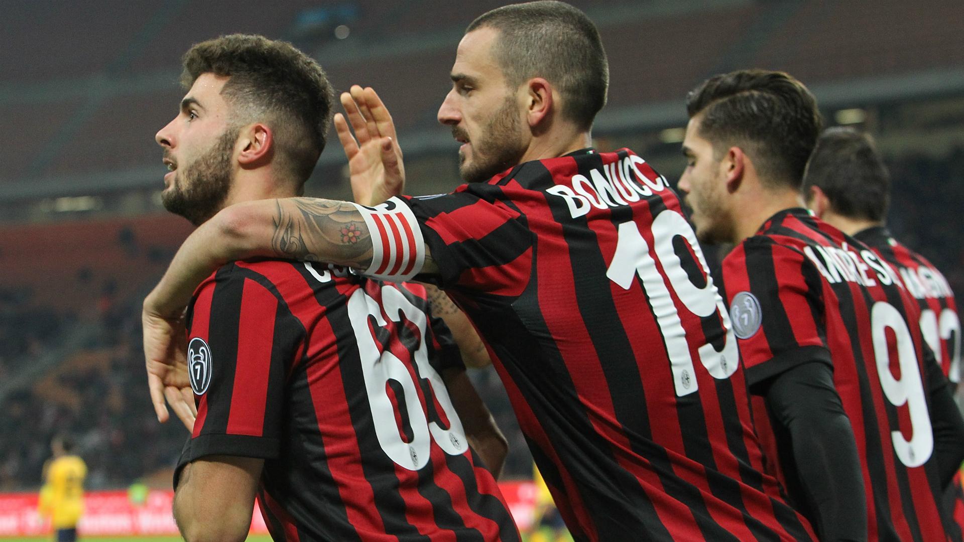Milan celebrating Milan Verona Coppa Italia