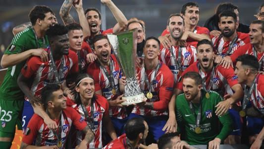 Atletico Madrid celebrating Europa League