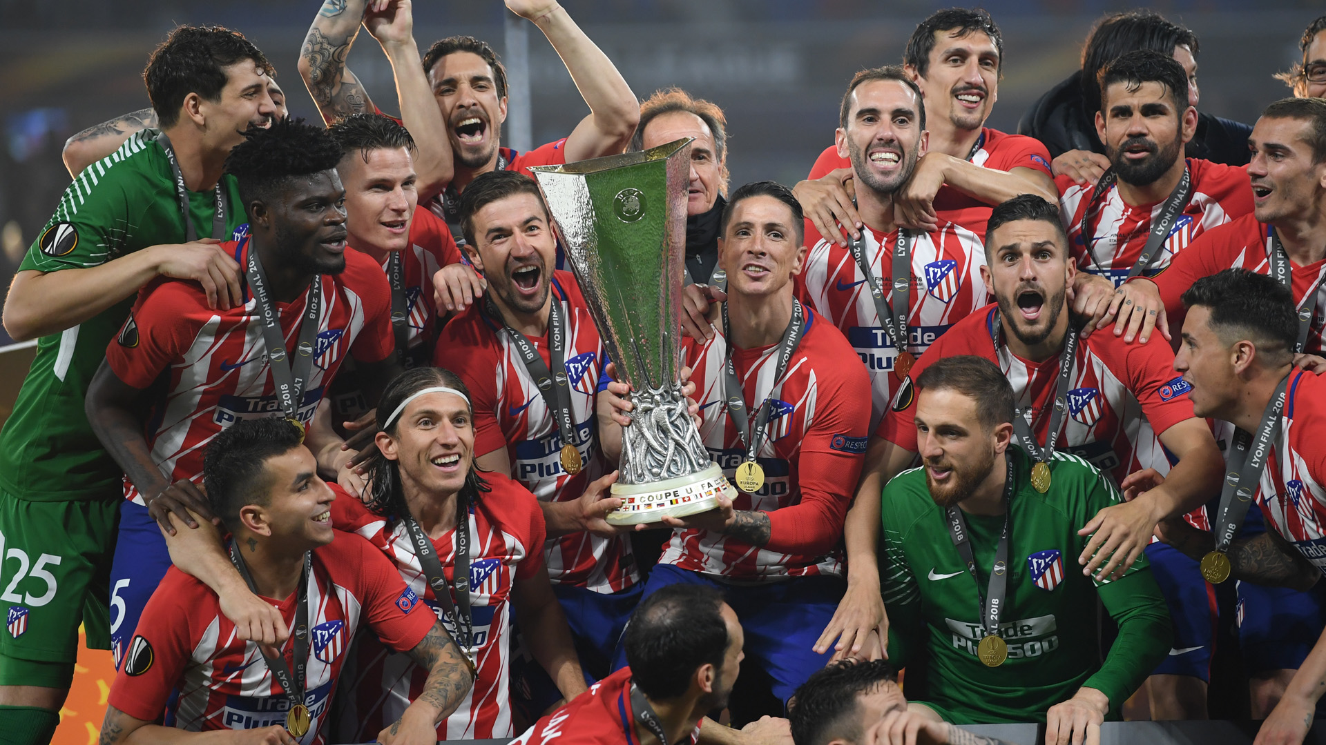 Atletico Madrid celebrating Europa League